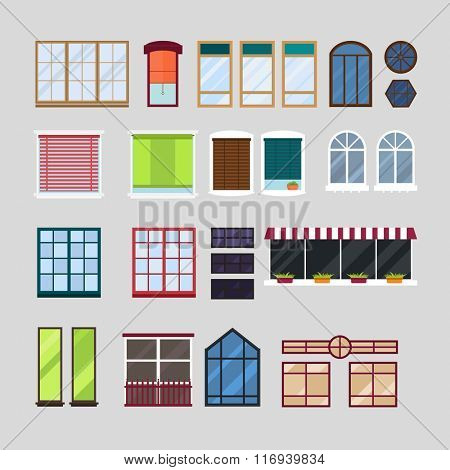 Different types house windows vector elements isolated on white background. Windows elements flat vector style. Vector windows frames