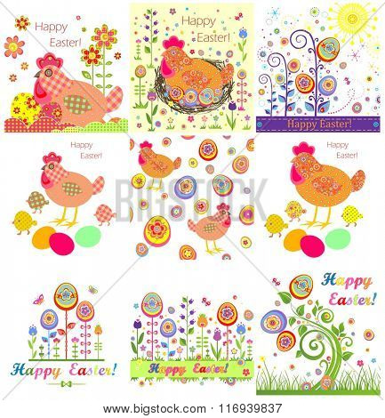 Set of funny easter appliques