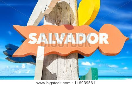 Salvador welcome sign with beach