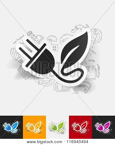 eco plug leaf paper sticker with hand drawn elements