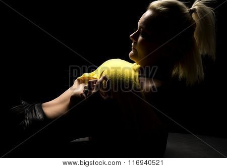 Blond Woman Pull Up Yellow Shirt Lay Back Highlighted