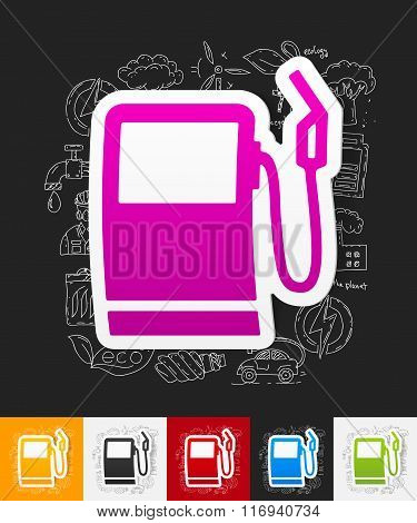 gas station paper sticker with hand drawn elements