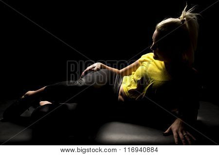 Woman Highlighted Yellow Shirt Lay On Side Full Body