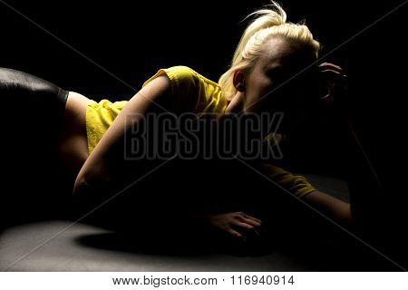 Woman Highlighted Yellow Shirt Lay On Side
