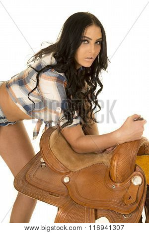 Cowgirl Short Denim Shorts Lean Over On Saddle