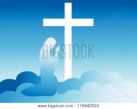 Virgin Mary Kneeling at the Foot of the Cross in Heaven (vector)