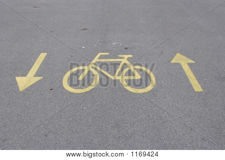 Sign On The Bicycle Path