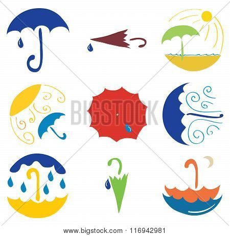 set of various umbrellas