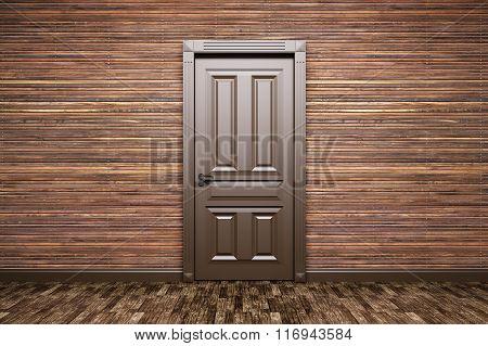 Interior Of A Room With Classic Door 3D Rendering