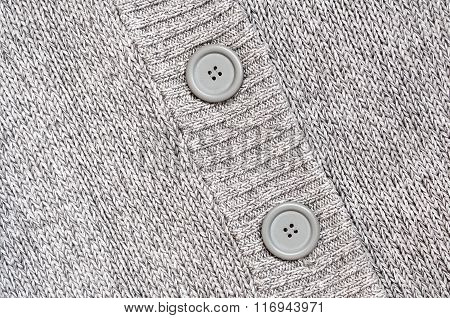 Background With Knitted Grey Sweater With Buttons  Knitted Woolen Background