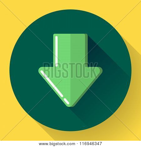 Download icon. Upload button. Load symbol. Flat design style. Vector