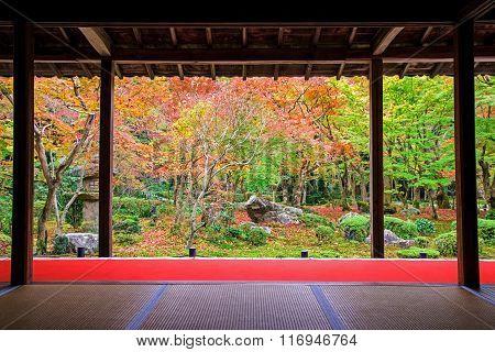 Autumn Colorful Japanese Garden At Enkoji Temple