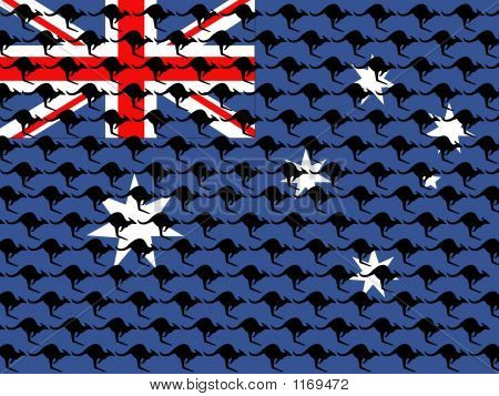 Kangaroo And Australian Flag