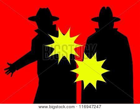 Mobsters firing guns (Vector)