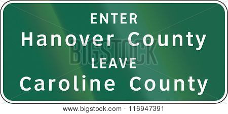 Road Sign Used In The Us State Of Virginia - County Borders