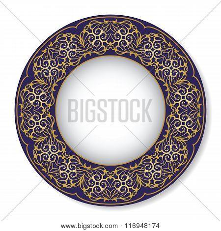 Vector illustration of blue oriental tray