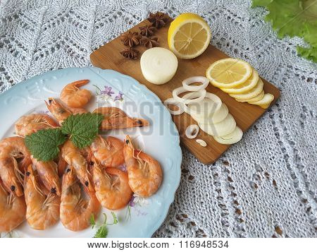 Shrimp Lemon, Cooking Vegetarian Healthy Food With Vegetables