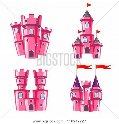 Set Of Pink Fairy Castles