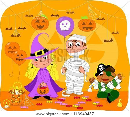 Kids at Halloween party vector
