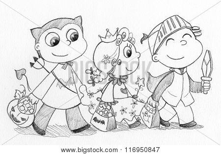 Children at Halloween