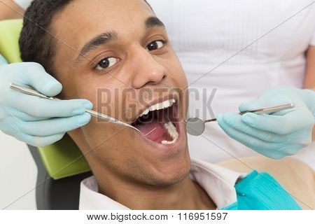 Young man at dentist's office