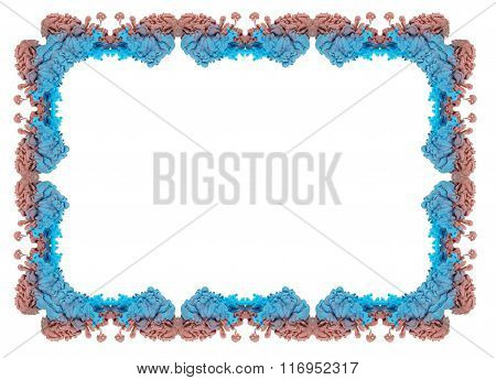 Frame With Multicolored Ink Drop Swirling In Water.