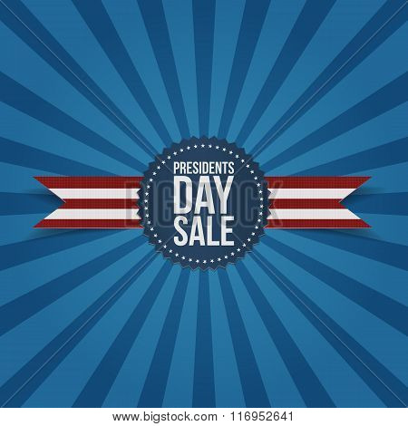 Presidents Day Sale Label with Ribbon