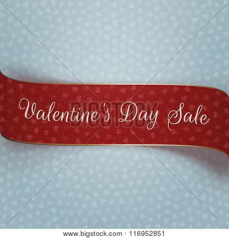 Valentines Day red and golden textile Banner