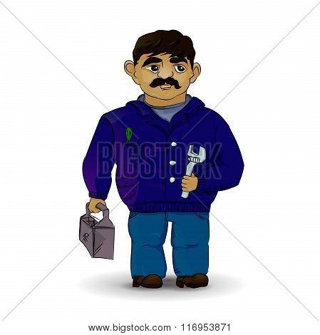 Master plumber in vector. Foreman in white