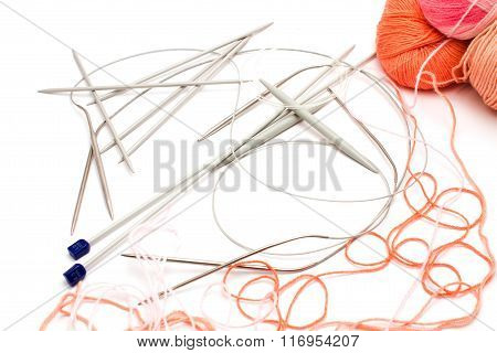 Abstract Background Of The Needles For Knitting