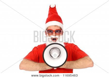 Santa Shouting Through Megaphone