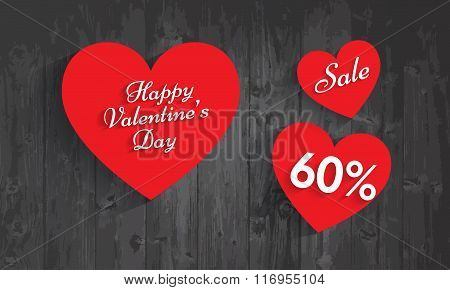 Valentine`s Day Sale, 60  Percent Discount. Vector Eps 10.
