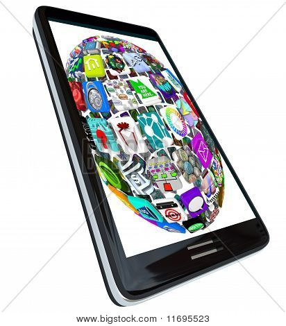 Sphere Of App Icons On Smart Phone