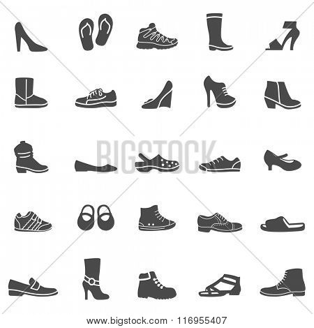 Shoes black icons set. Vector