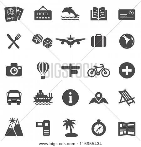 Vacation black icons set.Vector