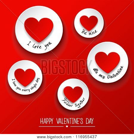 Valentines Day background with sticky . Vector illustration