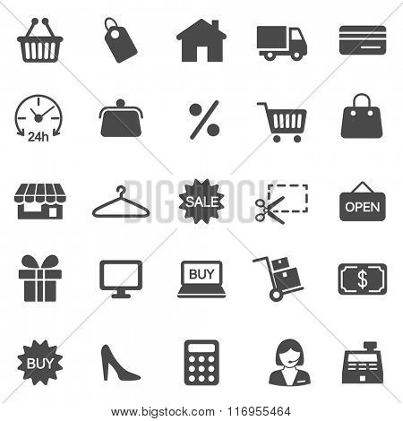 Shopping black icons set. Vector