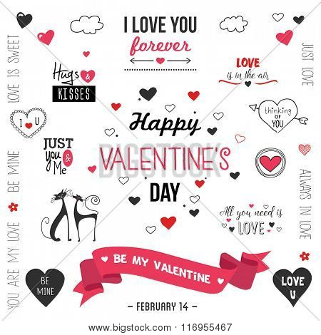 Valentine`s day  design set .Vector illustration