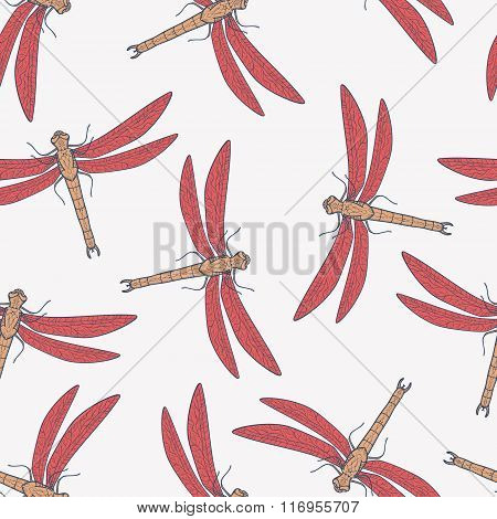 Vector seamless pattern with dragonflies. Endless backdrop