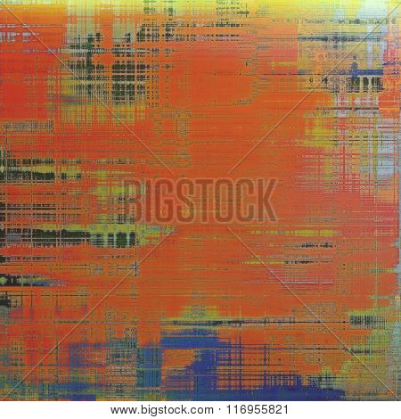 Background with grunge stains. With different color patterns: yellow (beige); brown; red (orange); black; blue