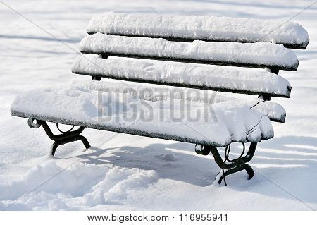Bench Covered In Snow After Snowfall