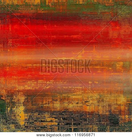 Weathered and distressed grunge background with different color patterns: yellow (beige); brown; red (orange); green; gray