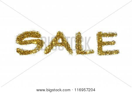 Word Sale of golden glitter sparkle on white background