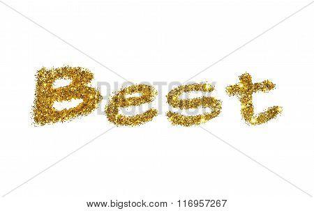 Word Best of golden glitter sparkle on white background