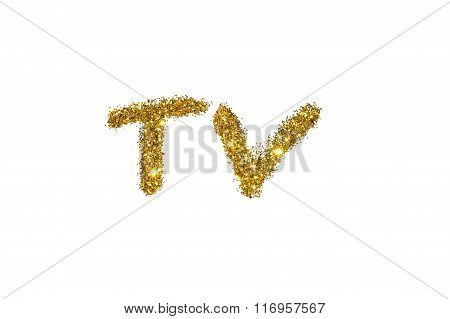 TV of golden glitter sparkle on white background