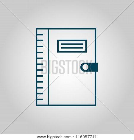 Notebook Icon, On Grey Background, Blue Outline, Large Size Symbol