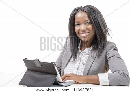 Young African American  Working On Laptop On The White Background