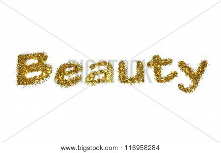 Word Beauty of golden glitter sparkle on white background