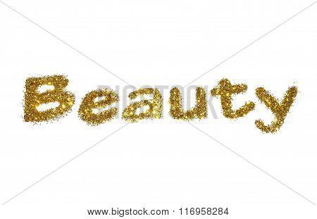 Word Beauty of golden glitter sparkle on white background