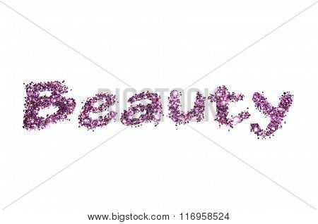 Word Beauty of purple glitter sparkle on white background